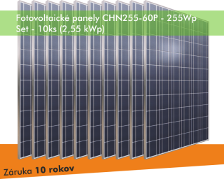 Fotovoltaický panel - CHN255-60P 255Wp - SET 10ks (2,55 kWp)